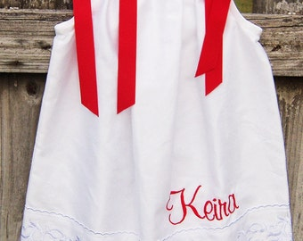 Personalized pillowcase dress red ribbons red writing scalloped edges