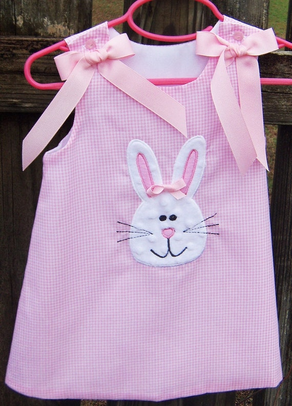 Minky dot Easter Bunny applique Aline   dress sizes 9 months 5