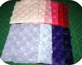 SCRAP HAPPY - 10 PC SET - MINKY\/MINKEE DIMPLE DOT PATCHES - PINKS, PURPLES, REDS