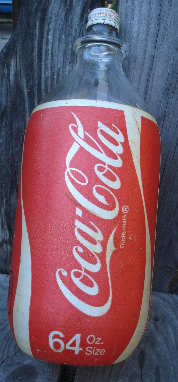 vintage 64 oz glass coca cola bottle