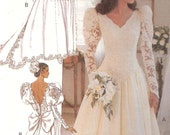 Vintage 1980s Butterick Misses Couture Wedding Dress Factory Folded Sewing Pattern