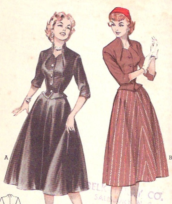 Vintage 1950s Butterick Nip Waisted Two Piece Dress Pattern
