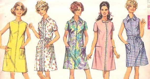 Vintage 1960s Simplicity Misses A Line Dress With Front Zipper Pattern