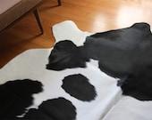 Organic Shaped Hide Rug - Black and White