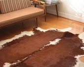 Organic Shaped Hide Rug - Brown and White