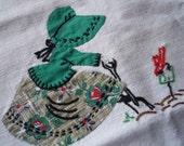 Vintage Towel Farmhouse Gardening Girl Embroidered Applique Linen Dish Tea Towel