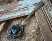 Romantic Bird Nest Silver Spoon