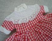 Vintage Doll Dress Red White Gingham Farmhouse Country Cottage Style Home Decor AMarigoldLife