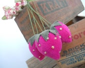 Strawberries Pink Velveteen Fabric Vintage Inspired Handmade Farmhouse Home Decor Ornaments