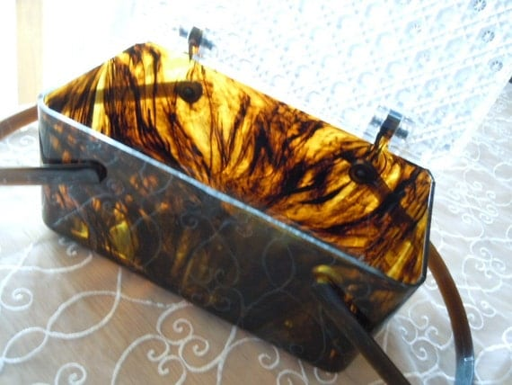 RESERVED for BaubleQueen - Vintage Lucite Tortise Shell 1950s Box Purse