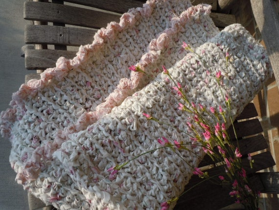 RESERVED for Chrystal - Crochet Rag Rug Shabby Chic Pink Whisper Wild Rose Petals