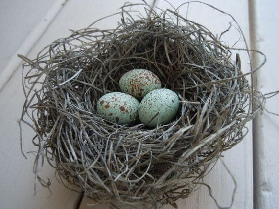 Shabby Chic Handmade Bird Nest with Pale Blue Green Crow's Eggs