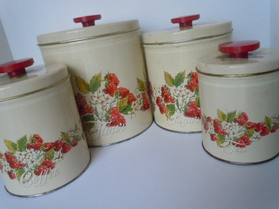 Vintage Canister Set Strawberries Metal Containers Farmhouse Cottage Decor