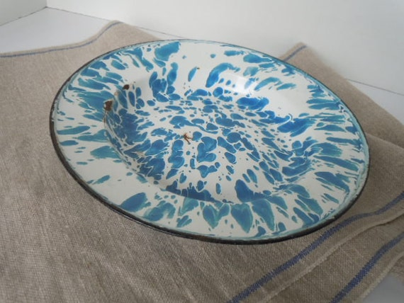 Graniteware Enamelware Plate Bowl Swirl Blue and White Farmhouse Kitchen Metal Decor