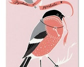 Greeting Card - Bullfinch in Love - rose