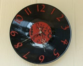 Upcycled Record Clock LP Red Vinyl Rock N Roll Handmade