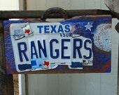 Texas Rangers Baseball License plate Barn Wood Man Cave Sign