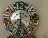 Vintage Dodge Hubcap and License Plate Clock Man Cave