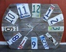 Rustic Wood Fence Panel License Plate Wall CLock