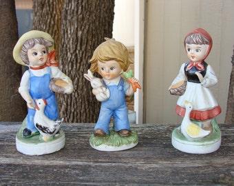 Vintage Farm Kids Ceramic Figurines