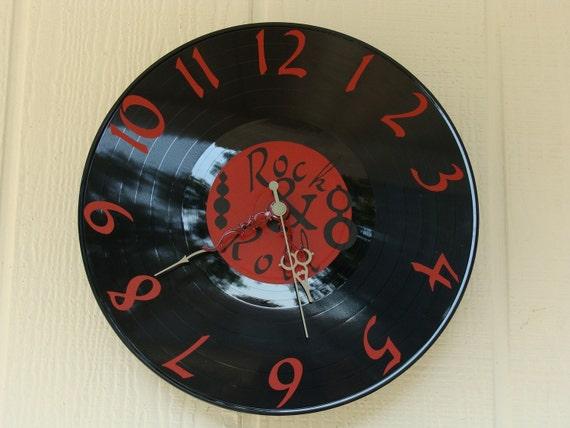 Upcycled Record Clock LP Red Vinyl Rock N Roll Handmade
