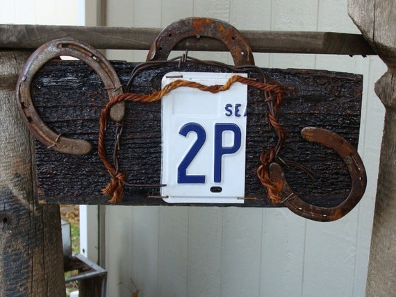 Bathroom 2P License plate Barn Wood Man Cave Sign