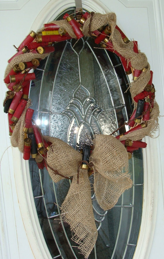 Shotgun Shell And Barbed WIre Gun Themed  Wall Wreath