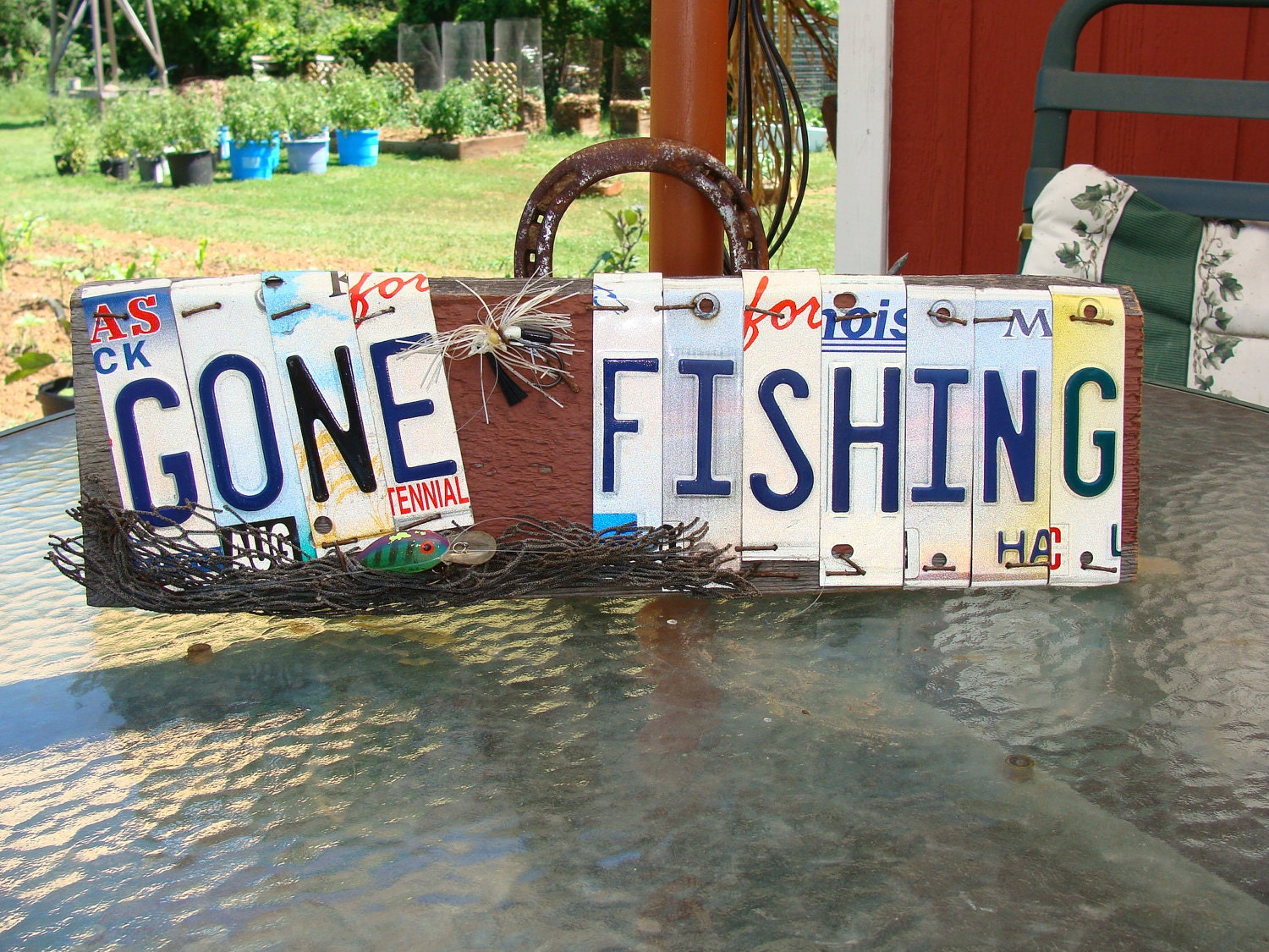 Gone fishing license plate barnwood sign lakehouse sign by for Fishing license illinois