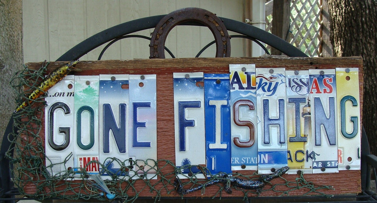 Gone fishing license plate barnwood sign lakehouse sign by for Fishing license il