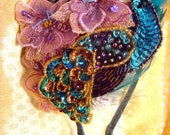 Sarika turquoise blue purple brown and pink peacock feather and flower hair accessory headband fascinator - Bollywood Collection 2010 - by Sprightly Strands