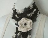 Black Skinny Scarf with Crochet Flower Brooch