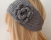 Crochet Wide  Bohemian Head Warmer Gray