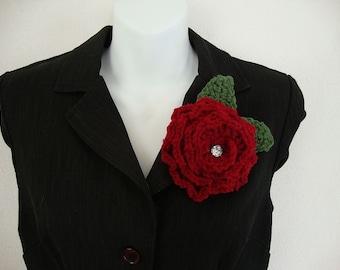 Rose Crochet Flower Pin Brooch