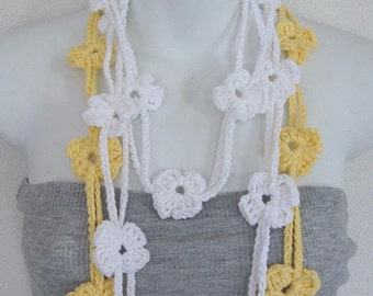 Double Lariat Scarf Yellow and Cream Flower