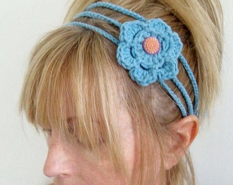 Head Band with Crochet Flower Blue