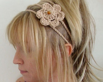 crochet headband 3 strands with flower