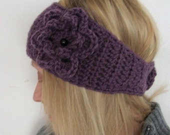 Crochet Head Warmer Super Wide with removable flower