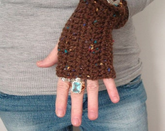 Crochet Fingerless Mittens Rich Browns