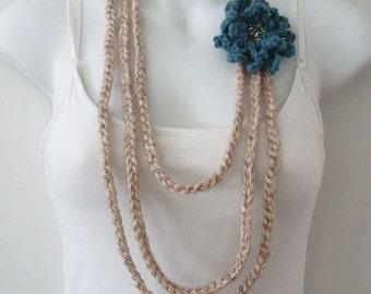 Crochet Stranded Necklace Lariat Oatmeal