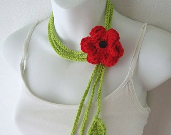 Crochet Lariat  Necklace with Leaves and Red Flower Pin