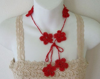 Pretty Red Flower Crochet Necklace Lariat