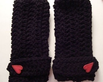 fingerless mittens  with red heart button black