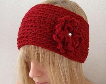 Crochet Wide   Head Warmer Cranberry