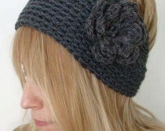 Crochet Head Warmer  Darkest Gray