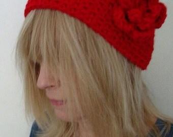 Crochet Wide  Head Warmer Really Red