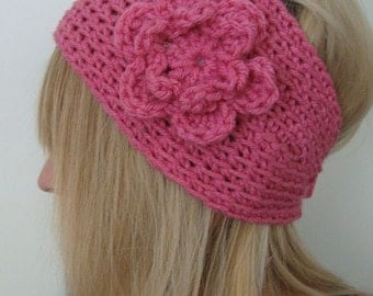 Crochet WideHead Warmer Raspberry