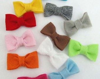 Three Little Felt Bow  Clips