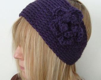 Crochet Wide  Head Warmer Deep Plum