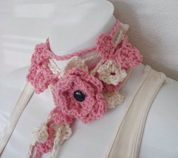 delicate pink and cream crochet lariat