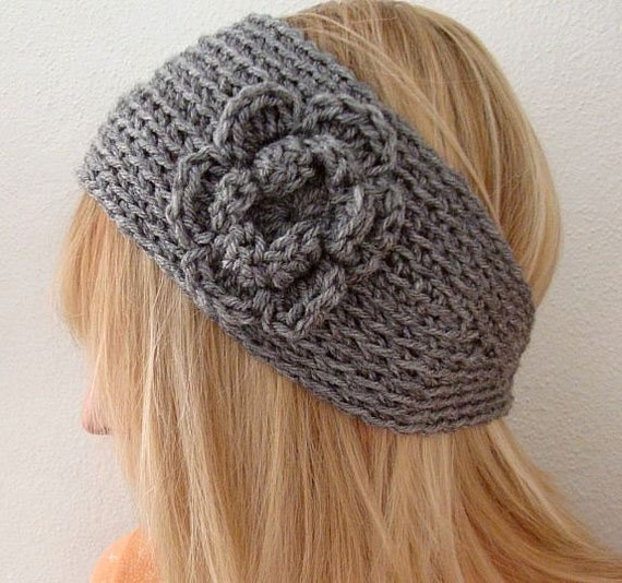 Crochet Patterns Head Warmers : Crochet Wide Bohemian Head Warmer Gray by daiseychain on Etsy
